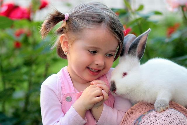 girl and rabbit